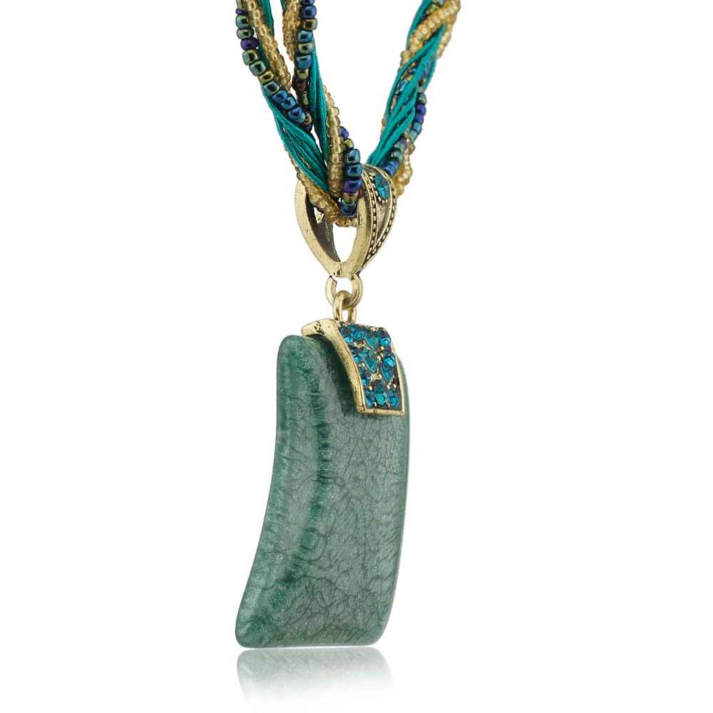 ファッションジュエリーエレガントな宝石ガラスビーズコードロープチェーンペンダント鎖骨ネックレス送料無料 B006
