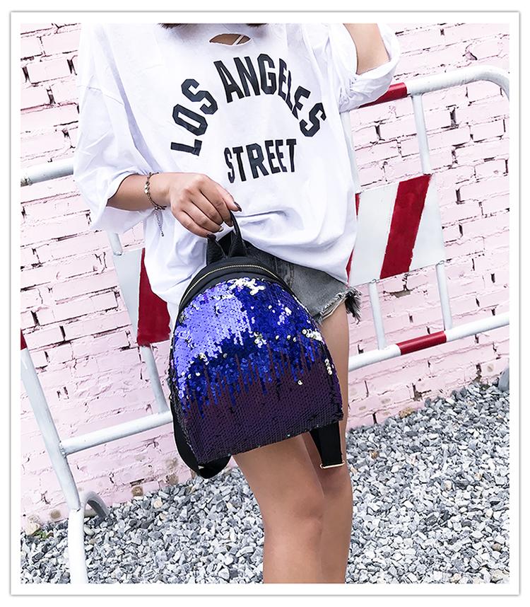 Backpacks women Korean mini 2018 new sequined shell fashion trend women go with small backpacks travel backpack 87