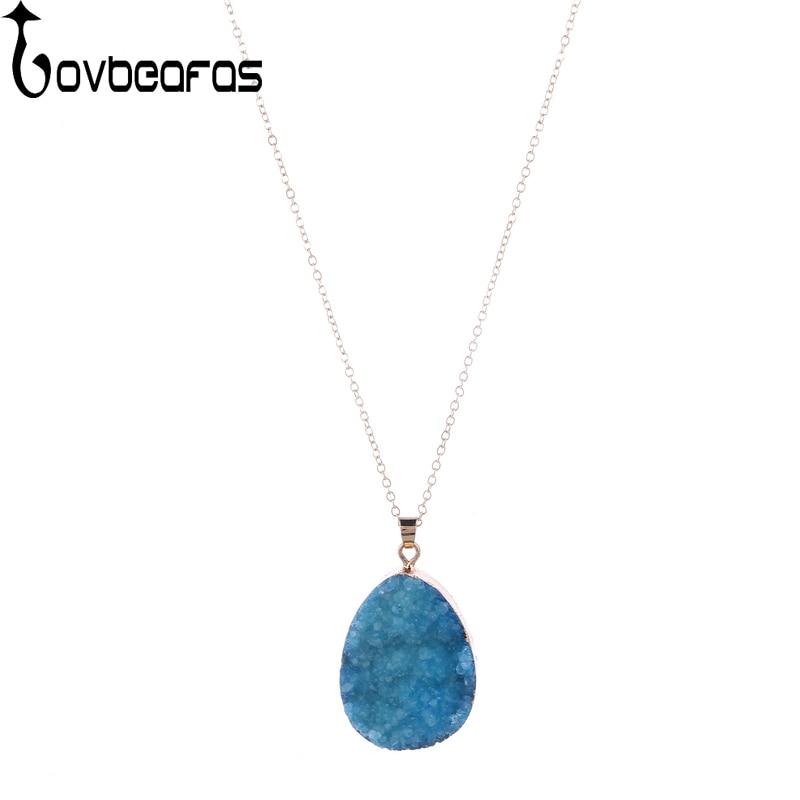 LOVBEAFAS Natural Stone Blue Purple White Rose Red Necklace Chakra Karst Cave Quartz Cry ...