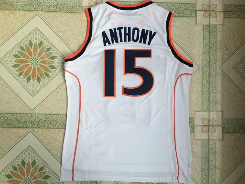 Carmelo Anthony 15 Syracuse University College Basketball Jerseys Stitched  Men Basketball shirt White Orange Black -in Basketball Jerseys from Sports  ... 3621f1492