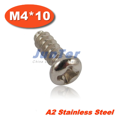 100pcs/lot Q272 M4*10 Stainless Steel A2 Cross Recessed Round Head Tapping Screws With Flat End