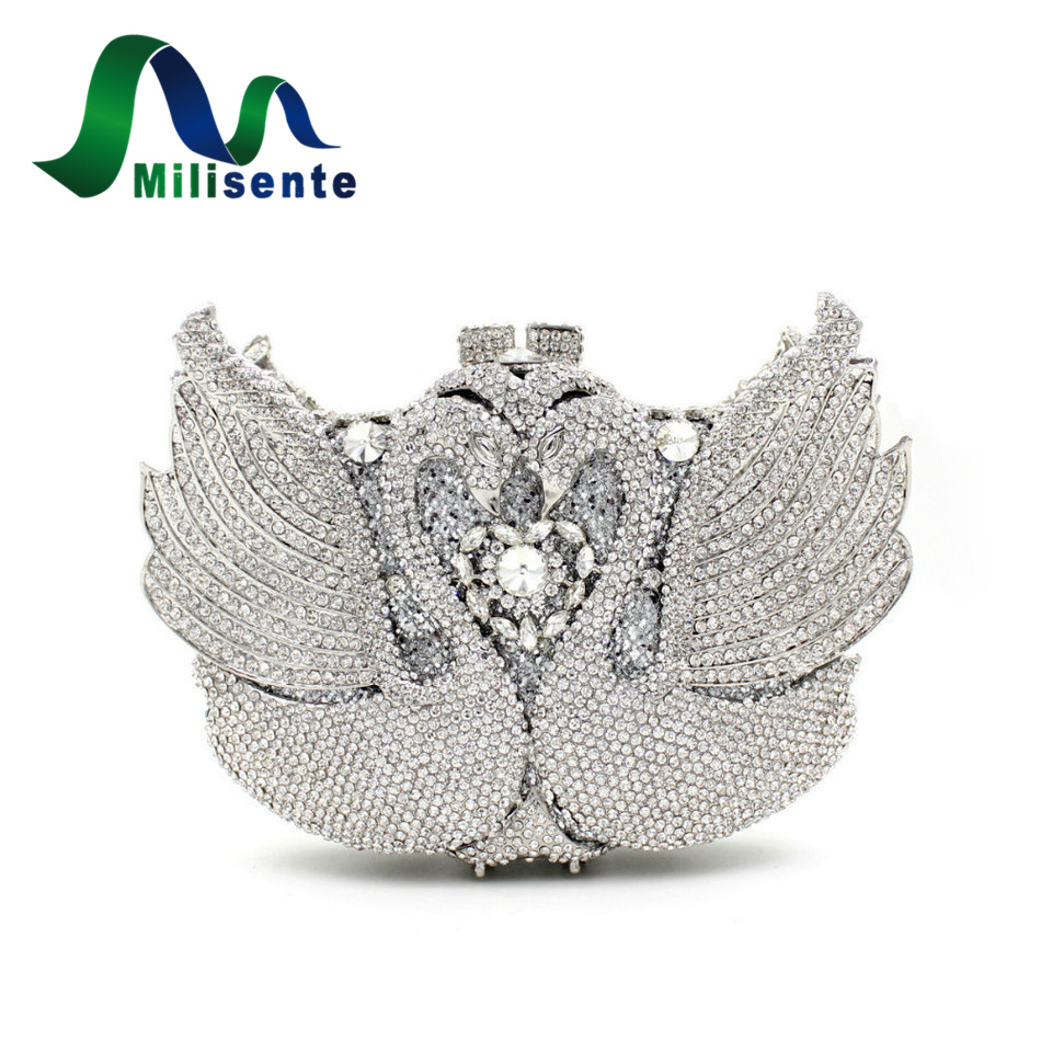 ФОТО Milisente Women Handbags Animal Luxury Crystal Evening Bags Pair Swan Shape Diamonds Bouquet Party Wedding Day Clutches