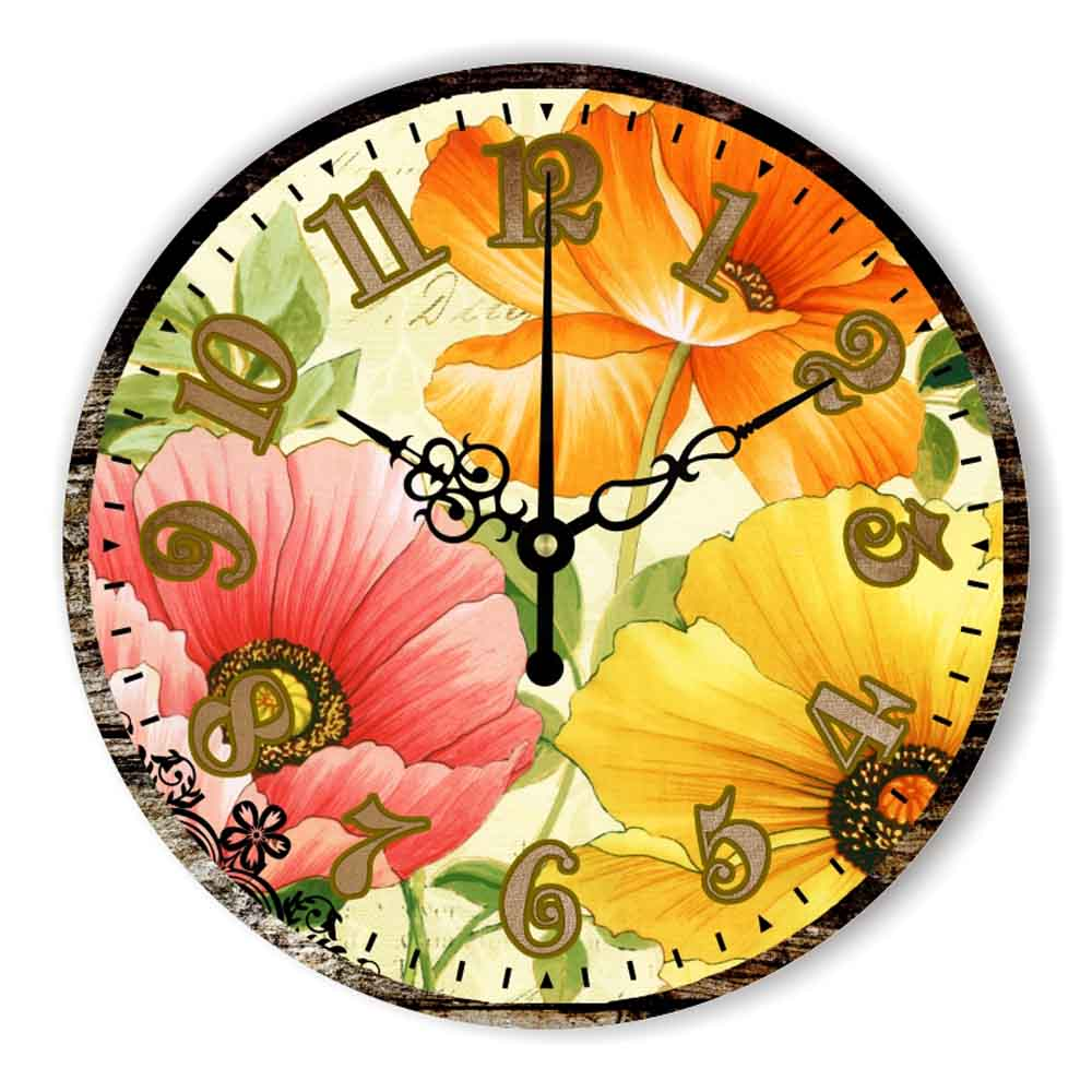 Beautiful Flowers Wall Clock Home Decoration Warranty 3 Years More ...