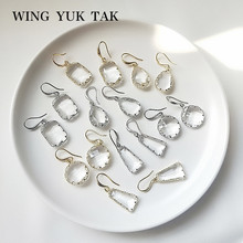 wing yuk tak Korean Earrings For Women High Quality Trendy Geometric Statement Drop Crystal Jewelry