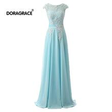 Doragrace Elegant Applique A Line Floor-Length Lace-Up Long Chiffon Evening Dresses