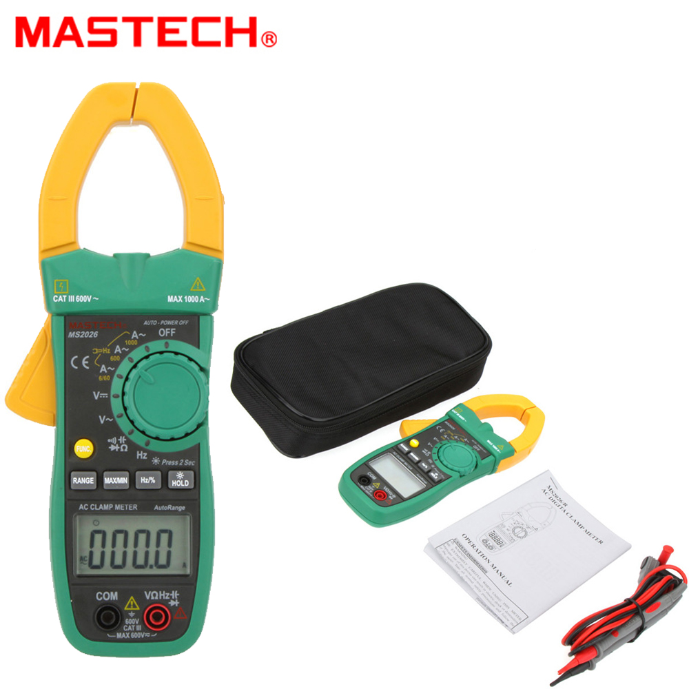 MASTECH MS2026 Digital AC Current Clamp Meter Auto Range Ammeter Voltmeter Ohmmeter w/ Capacitance & Frequency Tester vc99 auto range 3 6 7 digital multimeter 20a resistance capacitance meter voltmeter ammeter alligator probe thermal couple tk