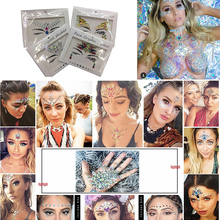 Pulaqi Crystal Chest Face 3D Stickers Bling DIY Party Self Adhesive Rhinestones For Eye Chest Jewelry Accessories Art Stickers F f pilkington alas fair face
