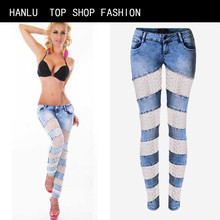 HANLU Fashion Women Bleached Jeans Pants Russia Sexylady Hollow out Lace Patchork Skinny Jeans Hot women Low waist Pants Jeans