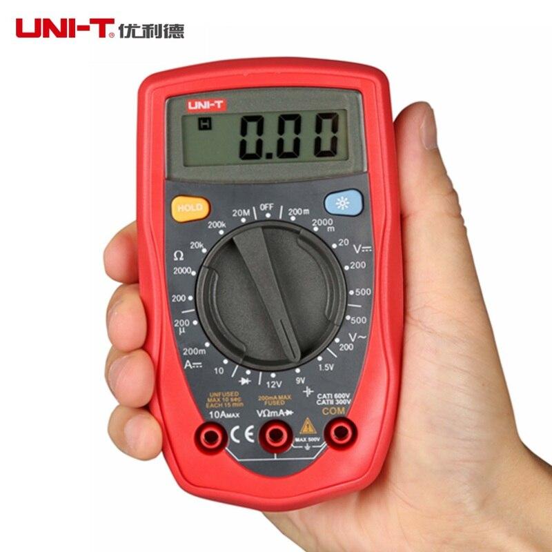 Professional UNI-T UT33D Digital Multimeter Auto Range DC AC Ammeter Voltmeter Ohm LCD Display Handheld Palm Size Test Lead  цены