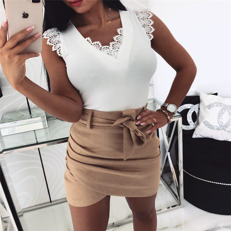 Oufisun Summer Sexy   Blouses   Deep V-Neck Lace   Shirts   Bandage Sleeveless Patchwork Women   Blouse   Women   Shirts   Casual Solid   Shirts