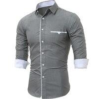 Brand 2017 Fashion Male Shirt Long Sleeves Tops Classic Cloth Pocket Trim Mens Dress Shirts Slim