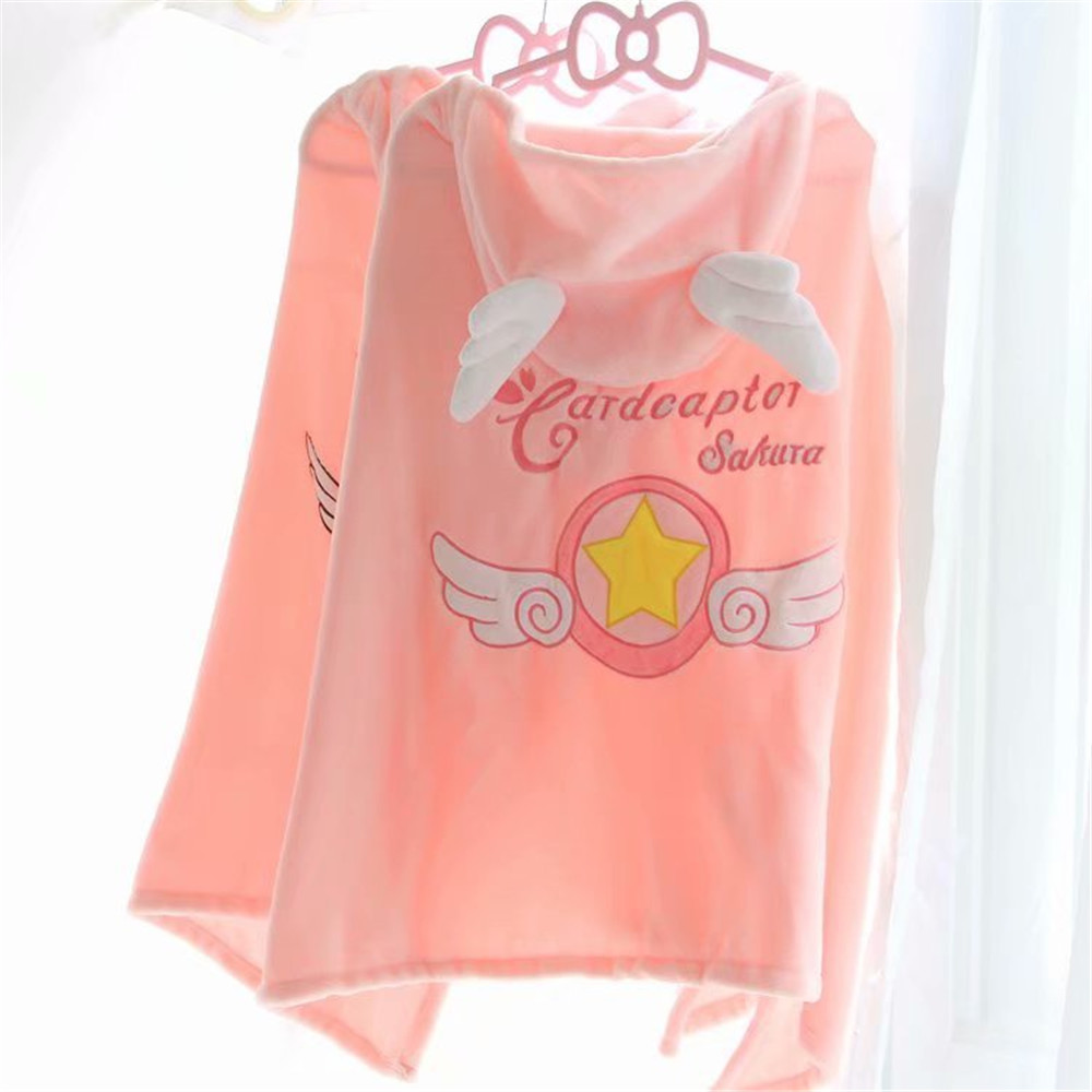 cosplay Anime Cardcaptor Sakura Lazy Hooded Cloak Blanket cute pink Sailor Moon Cape costume Home Decoration Christmas Toys Gift