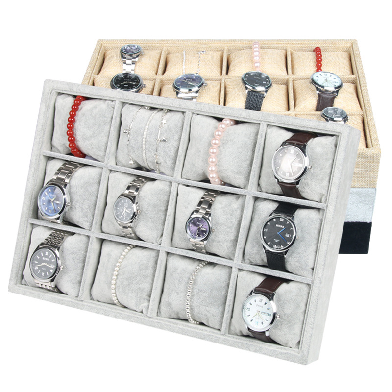 12 Grid Jewelry Display Tray Velvet with Pillows Linen Bracelet Display Stand Holder Bangles Storage Jewelry Organizer Inserts european household jewelry storage display stand
