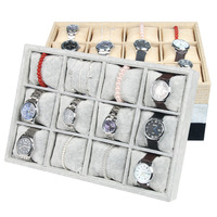 12 Grid Jewelry Display Tray Velvet with Pillows Linen Bracelet Display Stand Holder Bangles Storage Jewelry Organizer Inserts