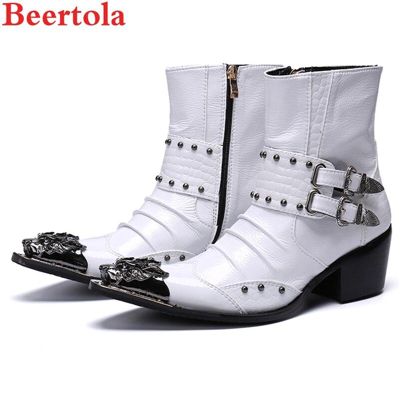 bc914ebab Cuero Estrecha Metal Vaquero As Totem De Punta Picture Botas Militares as  Zapatos Genuino Estilo Botines ...