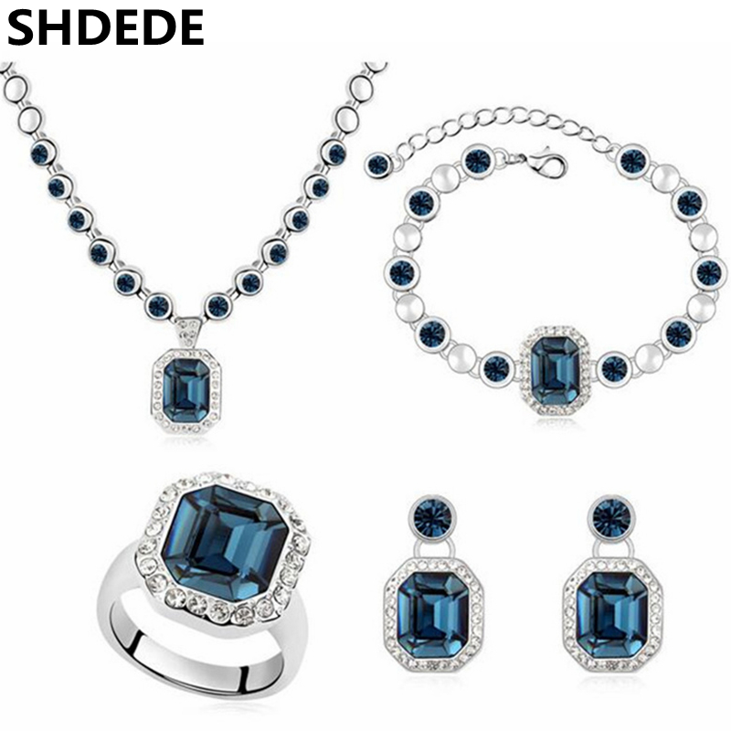 SHDEDE Crystal from Swarovski Elements Fashion Jewelry Sets For Women Necklace Earrings Pendant Bracelets Rings -9335 baffin crystals pave jewelry sets round pendant necklace maxi rings luxury accessories for women made with swarovski elements