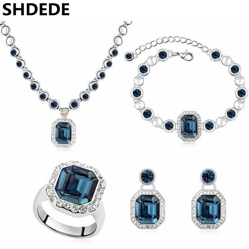SHDEDE cristal de Swarovski Elements mode bijoux ensembles pour femmes collier boucles d'oreilles pendentif Bracelets anneaux-9335