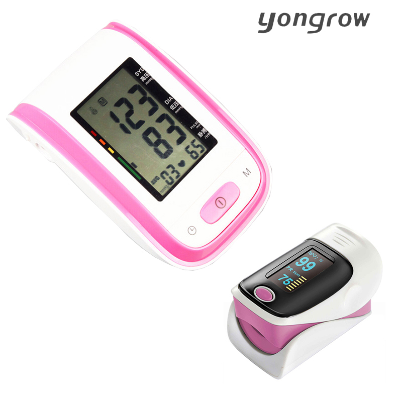 Yongrow Blood Pressure Monitor + Portable Fingertip Pulse Oximeter Pressure Gauge Meter oximetro de pulso de dedo pulsioximetro