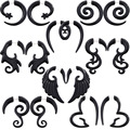 Alisouy пара, черная акриловая поддельная коническая спираль для пирсинга, серьга-Тонель, ювелирные изделия для пирсинга