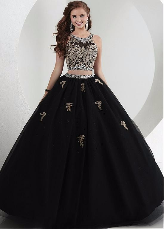 2016 Gold Appliques Two Pieces Quinceanera Dresses Black Ball Gown