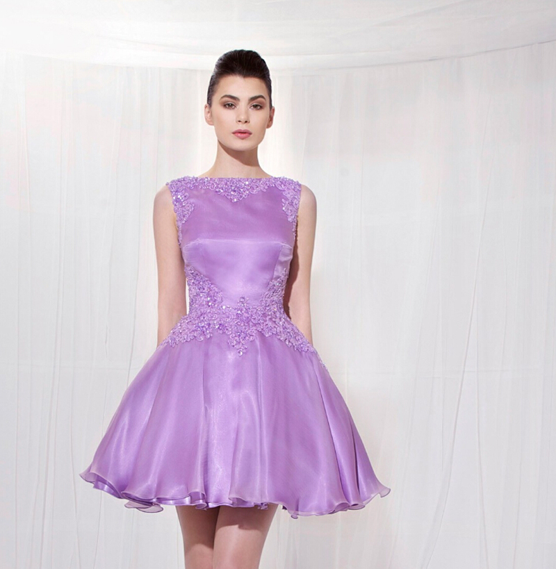 Pretty Amazing Lilac Lavender Short Homecoming Dresses Vestido de ...