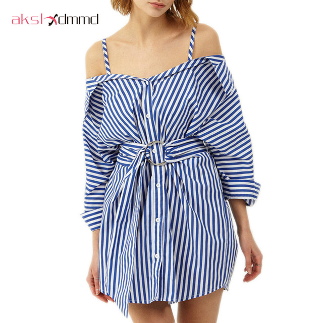 9e3e0ac4fa9 AKSLXDMMD Sexy Off-shoulder Shirt Dress 2017 New European Women Summer  Single Breasted Striped Waist
