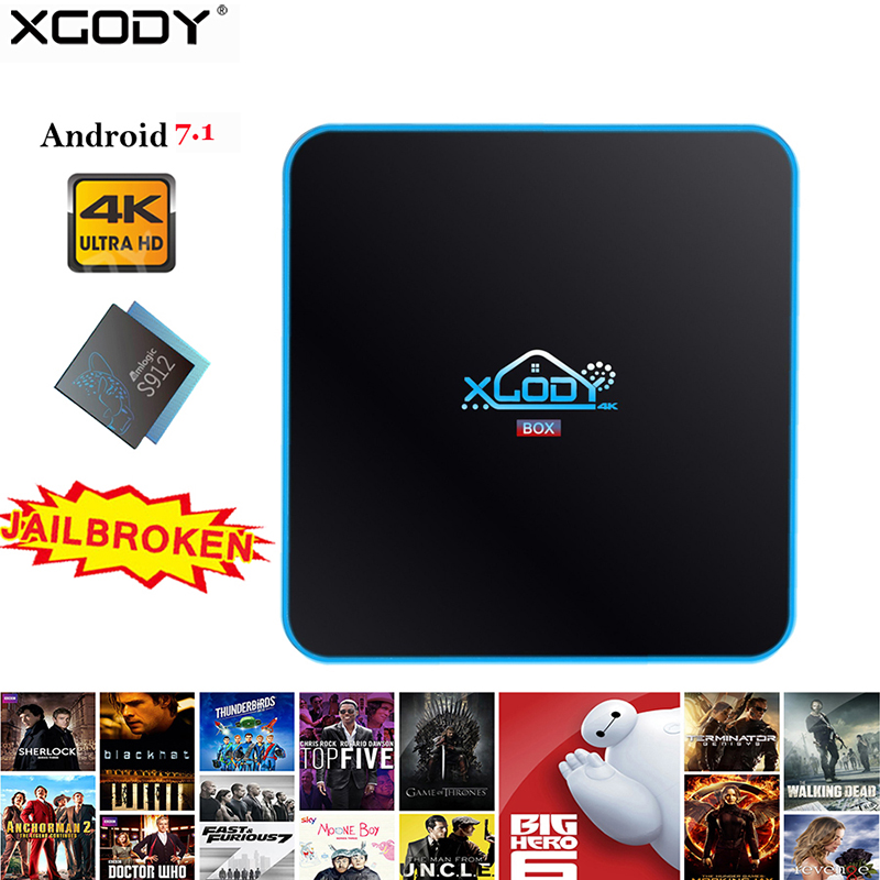 XGODY date 17.4 Smart TV Box 3 + 32 GB Android 7.1 Amlogic S912 Octa WiFi Bluetooth 4 K Streaming box TV récepteur lecteur multimédia