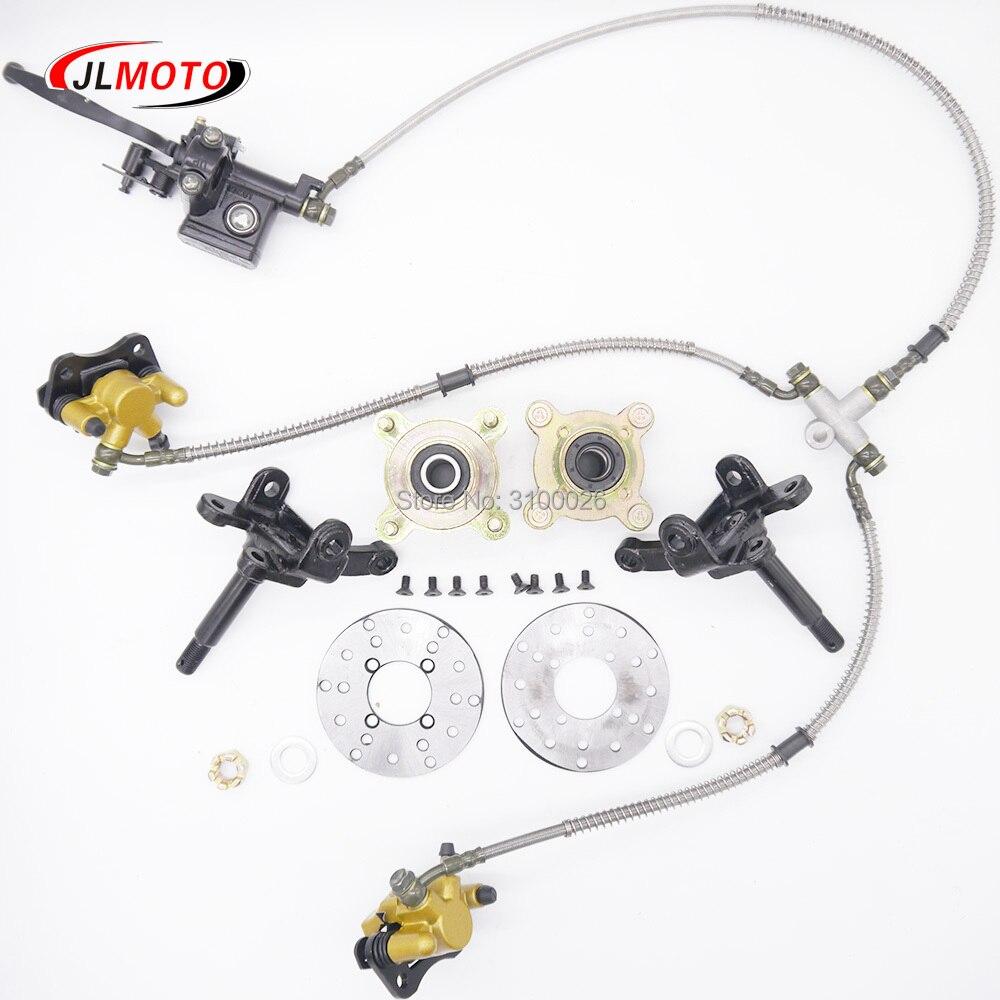 1SET 4 Stud Steering Strut Knuckle Spindles & 108mm Disc Brake & Wheel Hub Fit For DIY Electric ATV UTV Golf Buggy Bike Parts