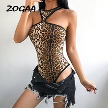 ZOGAA Leopard Print Sexy Party Bodysuit Women Halter Sleeveless Summer Strapless Shoulder Skinny Brand Cloth Bodycon Bodysuits