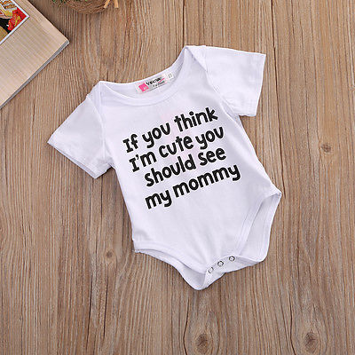 4b07de6ab07a Toddler Letter Jumpsuit Fashion Baby Boy White Bodysuit Cute Baby ...