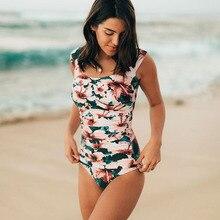 16739fcf3b3ea0 2019 nowy jednoczęściowy strój kąpielowy w stylu Vintage kostiumy kąpielowe  Halter Push Up stroje kąpielowe Sexy