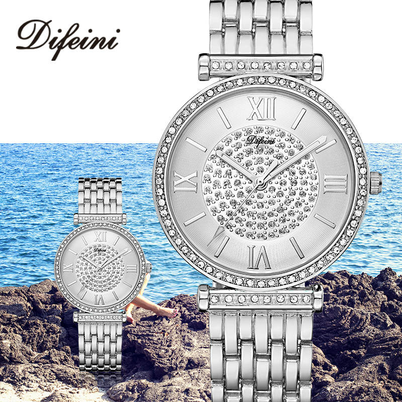 2019 Luxury Diamond Women Watches Tob Brand Fashion Ladies Wrist Watches Silver Steel Waterproof Clock Relogio Feminino Gift New