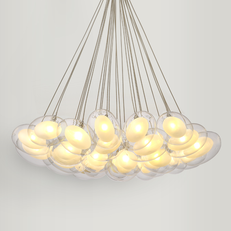 Modern Led oval egg glass ball Pendant Light  90-265V Clear Glass Led Suspension Lamp bar dining room hanging light 15 19 25 37 heads droplight clear bubble ball goose egg birds eggs duck egg double deck glass ball transparent pendant light