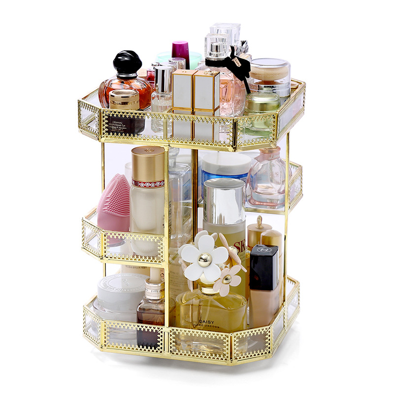 Hexagon Quadrilateral Glass Rotating Cosmetic Desktop Storage Box Transparent Makeup Organizer Dressing Table finishing Rack