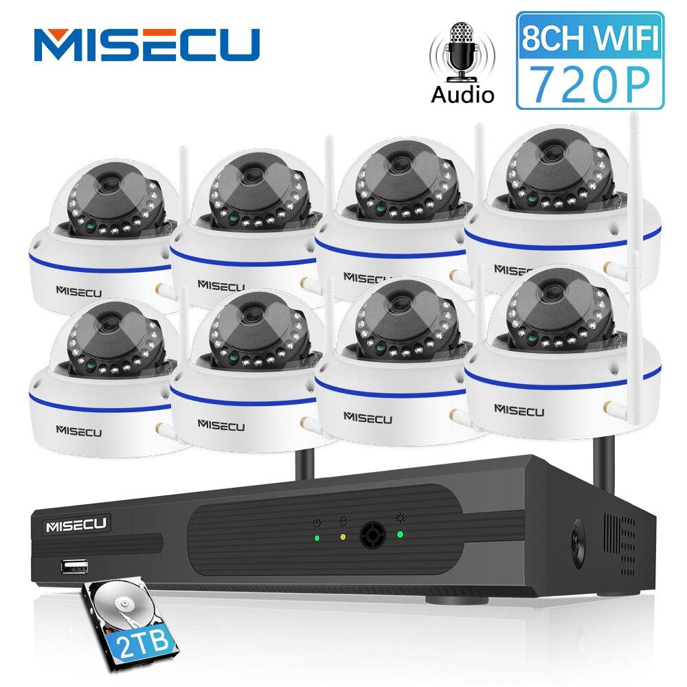 MISECU 8CH système de vidéosurveillance sans fil 720 P NVR avec 1.0MP intérieur anti-vandalisme Wifi caméra Audio enregistrement Vision nocturne Kit de Surveillance