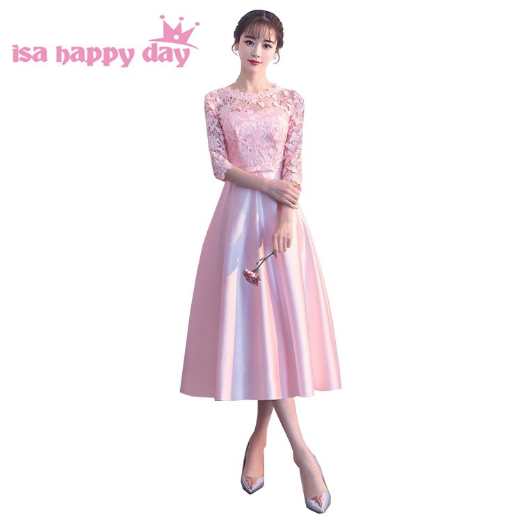 Lace 2018 Woman Light Pink Tea Length Party Satin Dress Formal Ball Gown Evening Dresses 2019 Elegant Ball Gowns China H4261