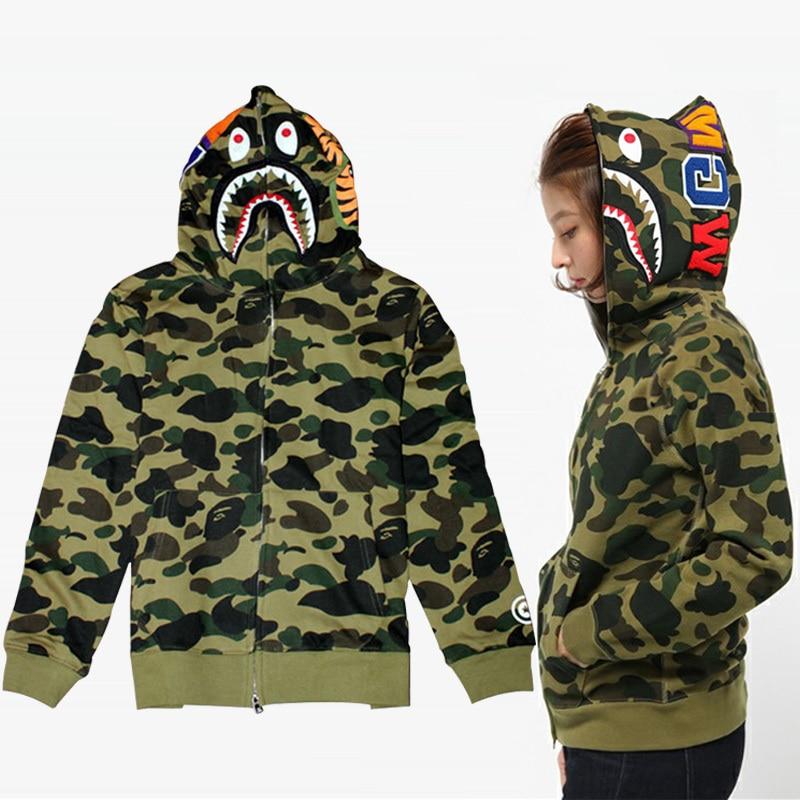 Harajuku Brand BAPE Clothing For Men Camouflage Hoodies Jacket man street Sweatshirts fleece ...
