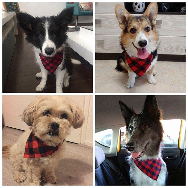 Dog Bandana Soft Plaid Cotton Dog Scarf Pet Bandana Puppy Bib Tie Triangular Bandage Chihuahua Collar For Cat Pet Products PQ003 (11)