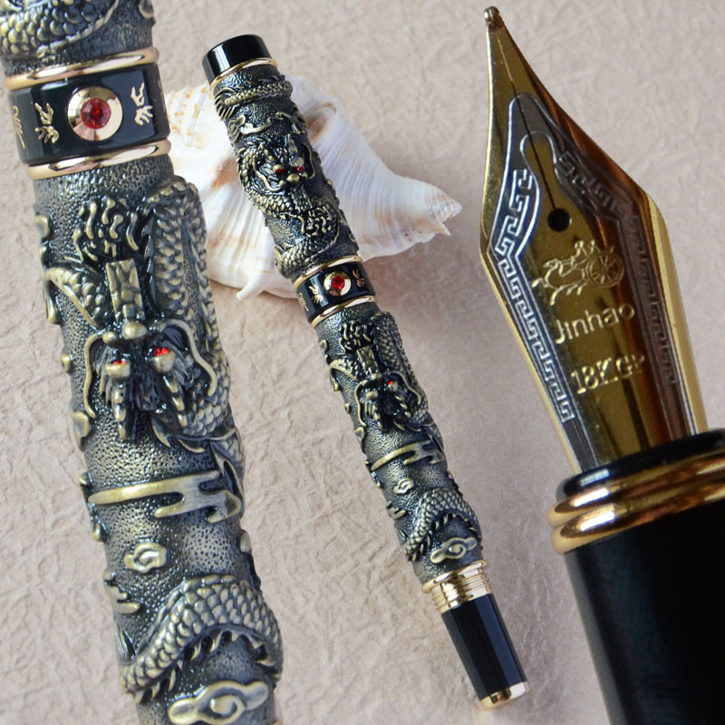 JINHAO NOBLEST ANTIQUE BRASS TWO DRAGON PLAY PEARL FOUNTAIN PEN MEDIUM NIB noble jinhao old grey two dragon play pearl roller ball pen crystal golden silver 3 colors for choose
