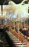 O Envio gratuito de 90 cm (H) cristal 5 braço de suporte de vela do Casamento mesa central decoração Do Casamento candelabro