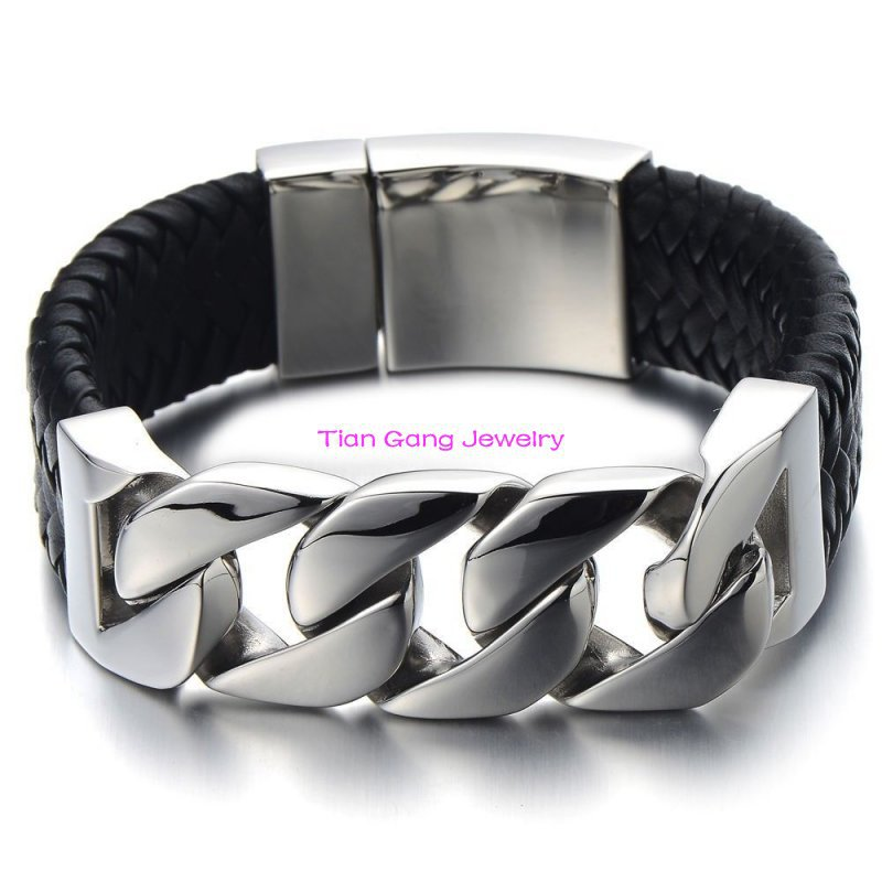 High Polished New Classical Style Frosted 110g Men Stainless Steel Black Genuine Leather Shiny Curb Bracelet