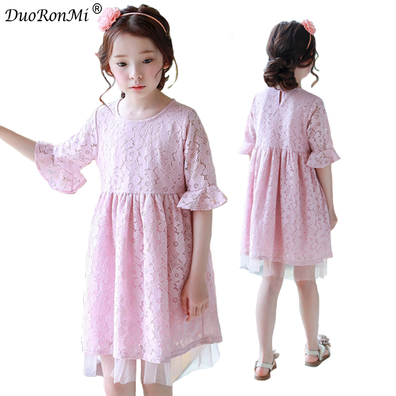 Kid Clothing Dresses 2018 New Brand Children Girls Sweet Costumes Lace Pink Princess Dress Mid Sleeve Kids Summer Clothes Hot acthink 2017 new girls formal solid lace dress shirt brand princess style long sleeve t shirts for girls children clothing mc029
