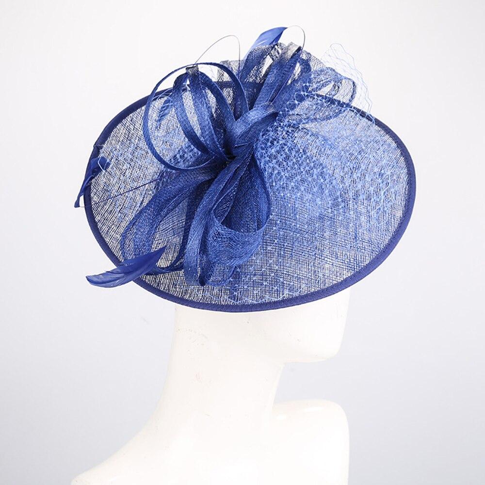 Fascinators chapeaux pour femmes élégant Fedoras chapeaux Bowler église chapeau bleu plume décorer casquette thé fête formelle cheveux accessoires