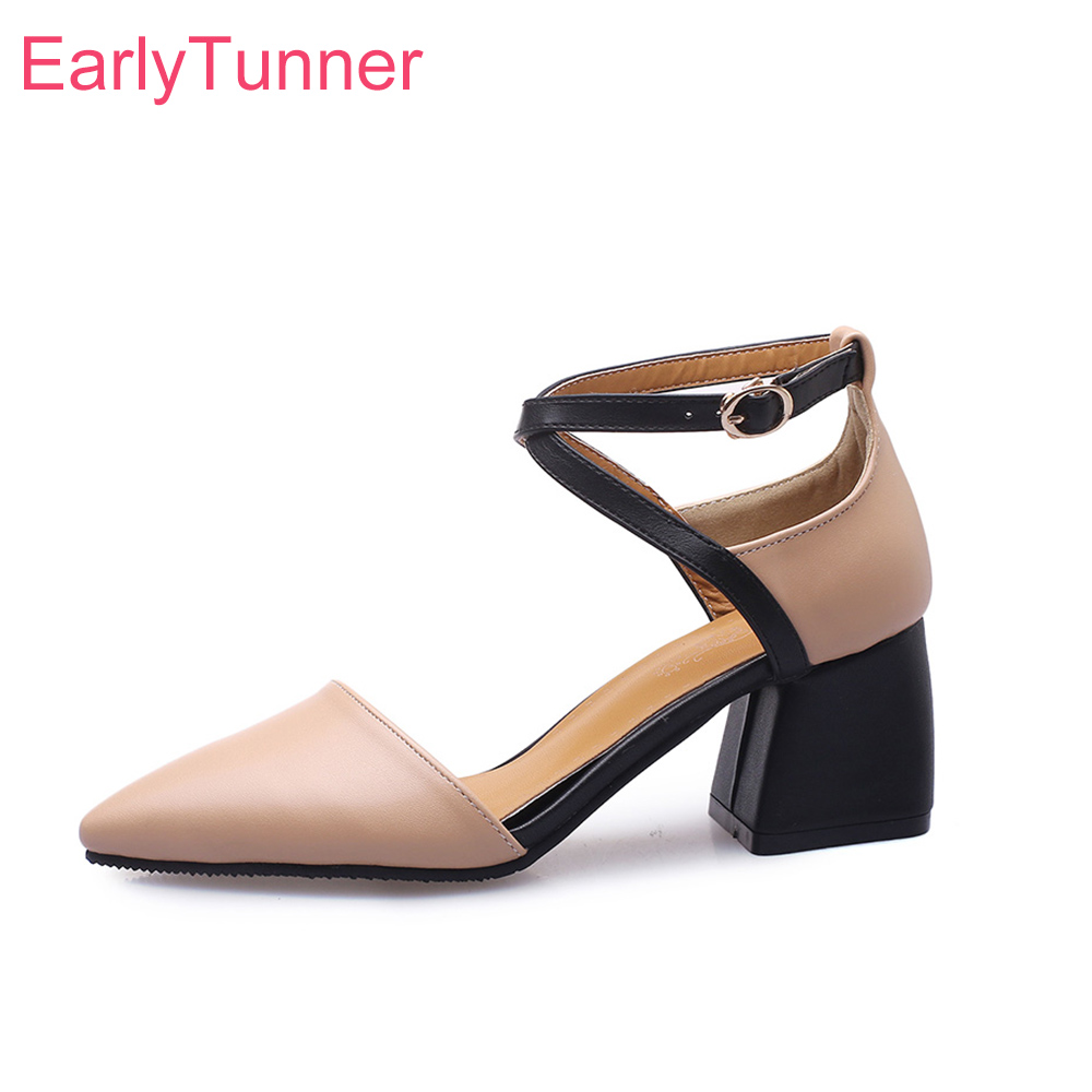 2019 Brand New Summer Elegant Apricot Beige Women Nude Sandals High Heel Office Lady Shoes ES914 Plus Big Small Size 10 32 43 46