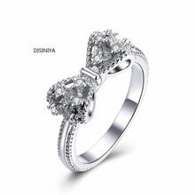 лучшая цена Vintage Dazzling Shinning Bowknot Zircon Rings For Women Wedding Ring Engagement Party Anniversary Luxury Jewelry ZBFR201