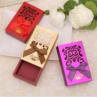 Free Shipping 20pcs Drawer Type Wedding Favor Chocolate Candy Box With Flower Wedding Souvenirs Wedding Party