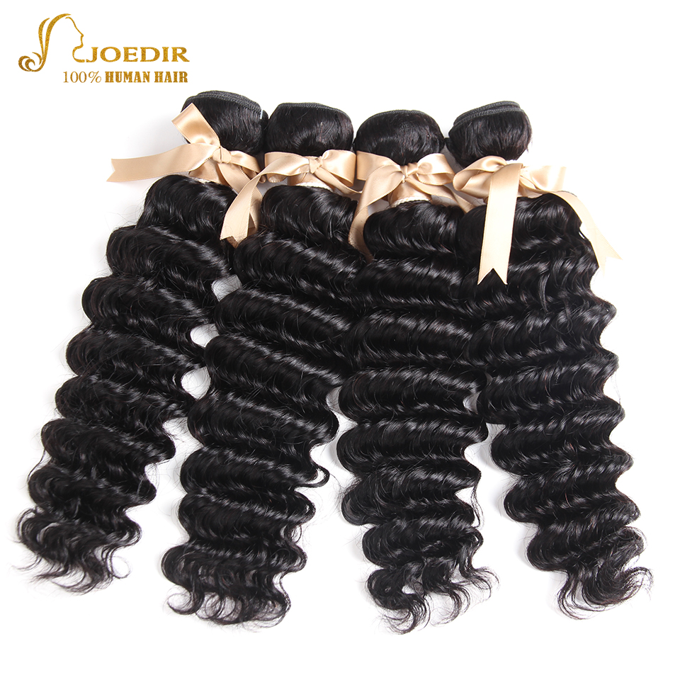 Joedir Hair Indian Deep Wave Hair Bundles 100% Human Hair Wavy Bundles Non Remy Hair Extentions 4 PCS Natural Color Free Ship