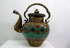 Canción voge joya S0166 6 incrustaciones de coral turquesa Tibet Bronce Cobre trabajo hecho a mano olla de vino Jarra tetera Olla