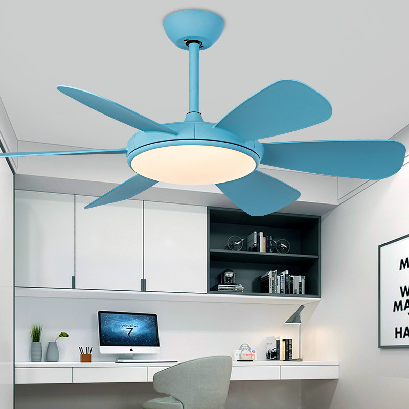 Lights & Lighting Modern Simple Colors Ceiling Fan Lamp Macaron Kids Room Living Room Led Iron Art Fan Lamp Colorful Fan Leaves Deco Pendant Lamp