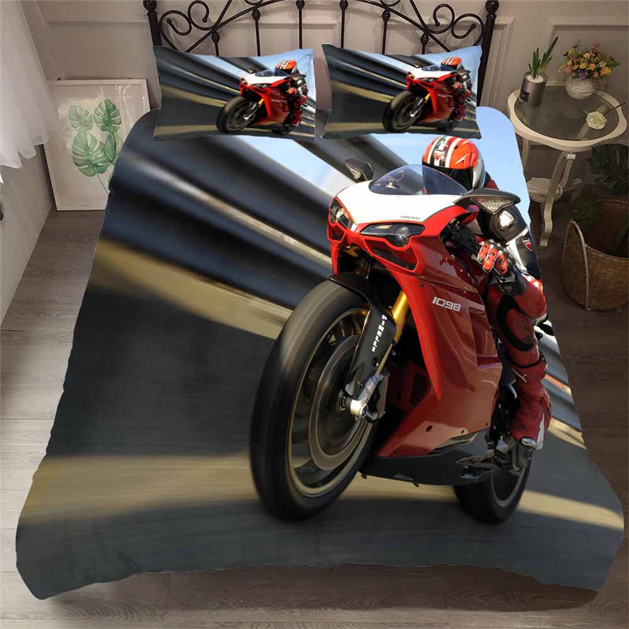 HELENGILI 3D Bedding Set Motorcycle Print Duvet Cover Set Bedcloth With Pillowcase Bed Set Home Textiles #MTC-05